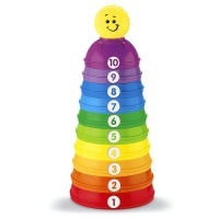 Mattel Fisher-Price W4472 - Brilliant Basics Stack und Roll Cups Spielkugel-Pyramide