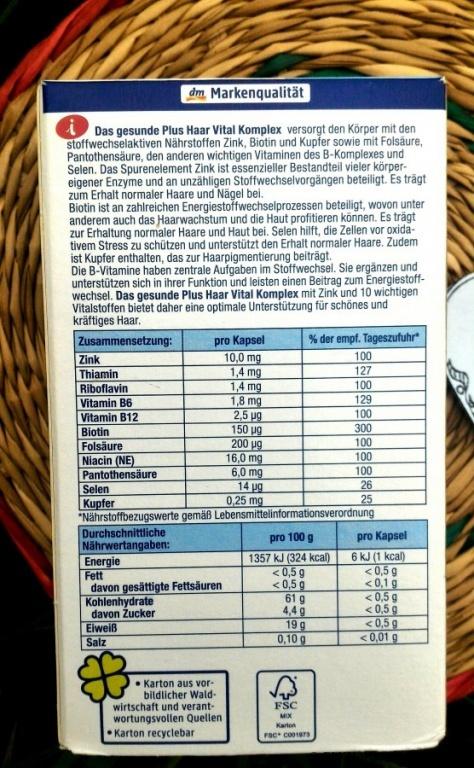 DAS gesunde PLUS Haar Vital Komplex Kapseln Nahrungsergänzungsmittel