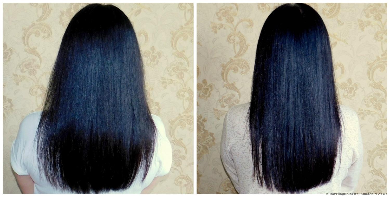 links mit anderen Mitteln gepflegtes Haar/ rechts mit L'Oreal Professionnel Liss Unlimited Shampoo