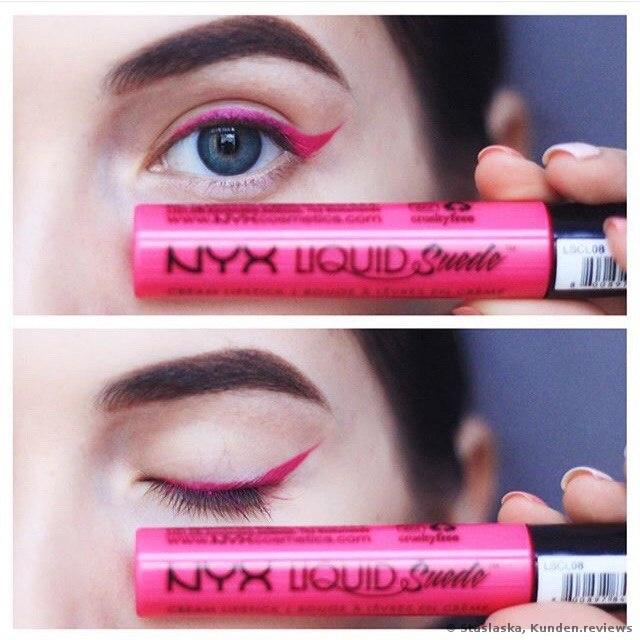 NYX Liquid Suede Lippenstift als Eyeliner