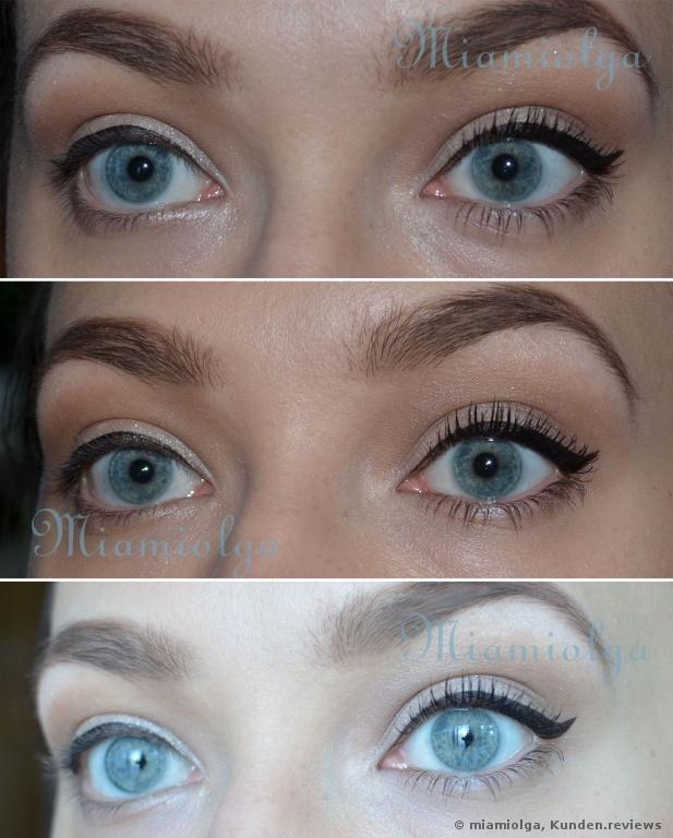links -ohne, rechts mit L'Oréal Volume Million Lashes Mascara So Couture