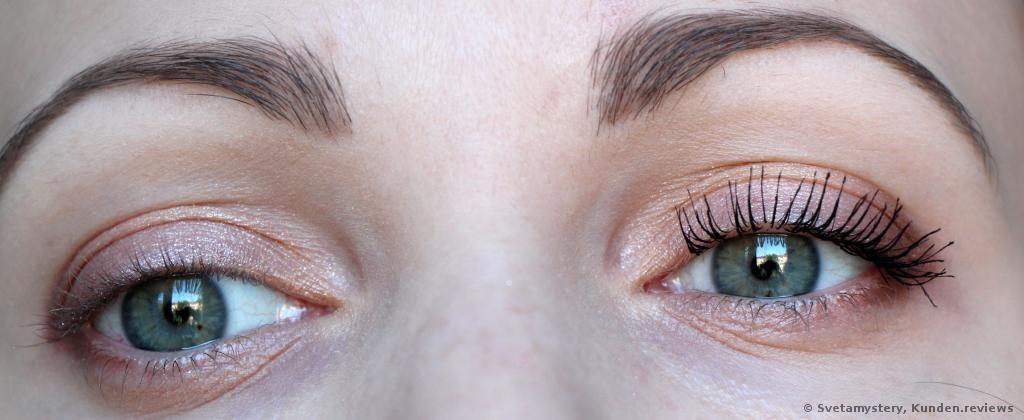 ein Auge ohne Mascara, der andere mit Mascara L´Oreal Telescopic