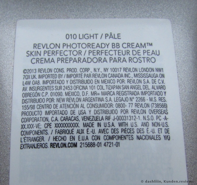 Inhaltsstofe Revlon PhotoReady BB Cream