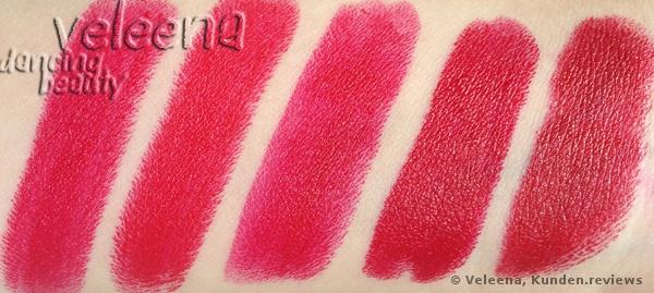 Guerlain #122, MAC Red, NYX Chic Red, NYX Chaos, ArtDeco #05