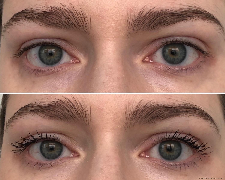 vorher und nachher mit Badgal Bang Mascara von Benefit