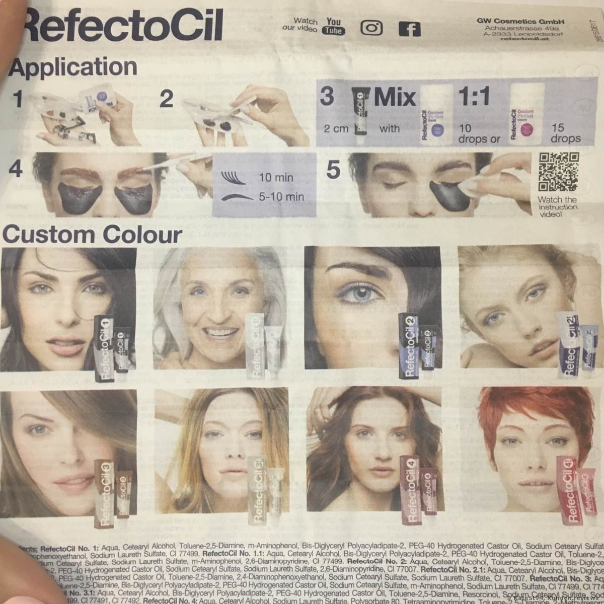 GWCosmetics Refectocil Augenbrauen und Wimpernfarbe Foto